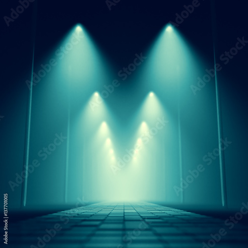 design element. 3D illustration. rendering. night dark park alley lights