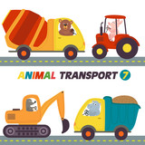 set of isolated transports with animals part 7- vector illustration, eps