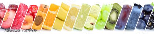 Foto Murales Früchte Frucht Obst Gruppe Sammlung Orange Beeren Bananen