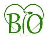 scritta bio verde con cuore vettoriale - 137708654