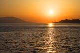 Beautiful sunset over gulf in the sea