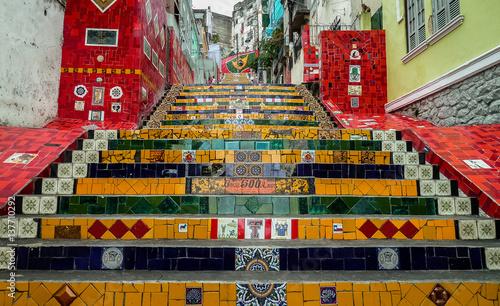 Foto op Plexiglas Rio de Janeiro Unique stairs connecting the neighborhood Lapa and Santa Tereza, Rio de Janeiro, Brazil