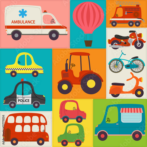 Materiał do szycia seamless pattern with fun transports - vector illustration, eps