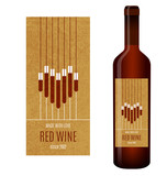 Vector wine label with abstract heart of glasses of wine