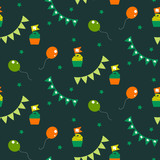 Irish celebration party seamless vector pattern. Cup cakes, buntings and balloons green and orange festive background.