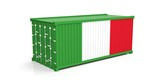 Italy flag on container. 3d illustration
