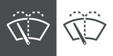 Icono plano limpiaparabrisas gris y blanco