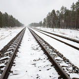 railroad tracks in snowy winter day