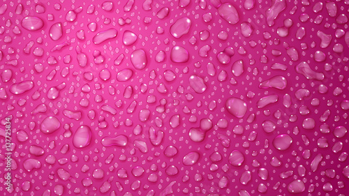 Pink background of water drops