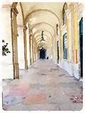 Digital watercolor painting of outdoor archway in Lisbon, Portugal. With space for text.
