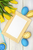 Easter decorations background, picture with space for text or logos