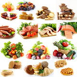collage, set food pyramid, healthy eating diet