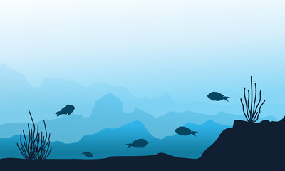 Silhouette of underwater landscape collection
