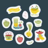 Eco and bio food labels set isolated on blue background. Natural products stickers with fruit and vegetables cartoon characters for organic shop, vegan cafe, restaurant menu, eco bar.