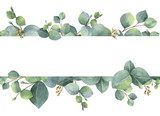 Watercolor green floral card with silver dollar eucalyptus leaves and branches isolated on white background. - 137745012