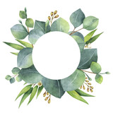 Watercolor round wreath with eucalyptus leaves and branches. - 137745037