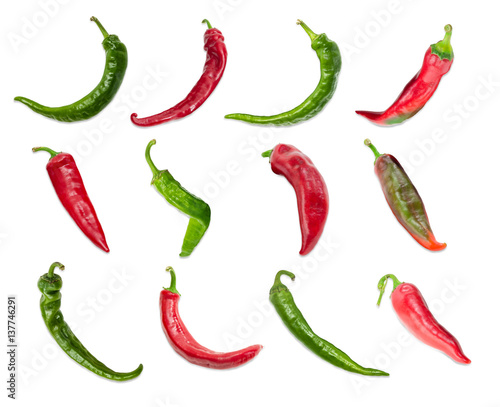 Foto op Canvas Hot chili peppers Top view of the several red and green chili