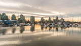 Vancouver city skyline with boats in foreground