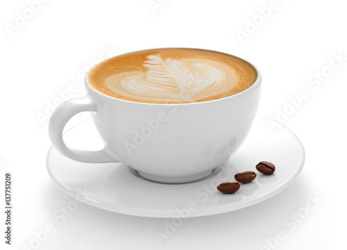 Fototapeta Cup of coffee latte and coffee beans isolated on white background