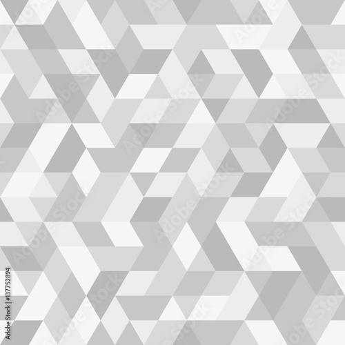 Geometric pattern with dark and light silver triangles. Seamless abstract background - 137752894