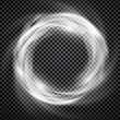 Vector light effect on transparent background. Glowing cosmic vortex or smoke ring illustration.