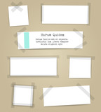 Fototapety Vector paper sheets with scotch tape pieces. Papers notes with adhesive tape set isolated on white background