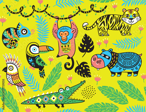 Cotton fabric Seamless pattern with tropical animals