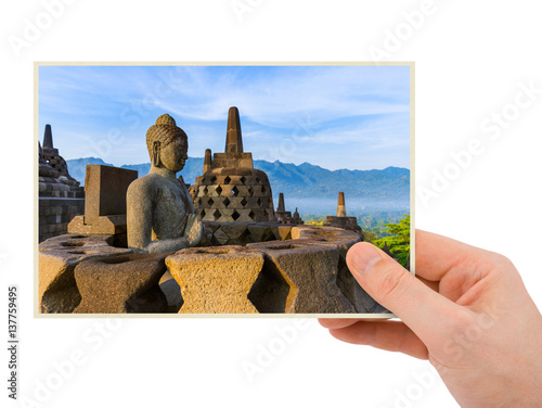 Hand and Borobudur Temple in Indonesia (my photo) Poster