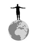 persona in piedi sul mondo a braccia aperte , disegno vettoriale  - 137761624