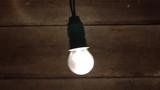 vintage light bulb swinging on old wood background