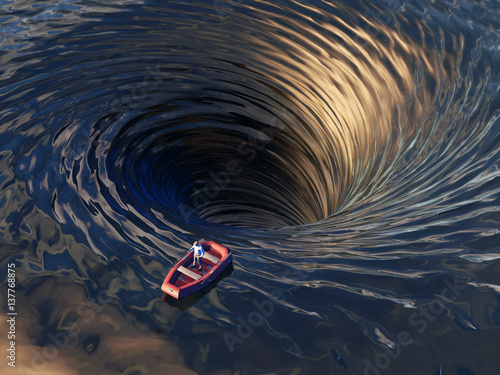 boat drifting into a water funnel
