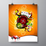 Vector Party Flyer design on a Casino theme with roulette wheel on grunge background. Eps 10 illustration.
