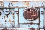 Fragment of old, rusty, grey painted ship board
