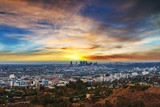 Los Angeles under a colorful sky at sunset