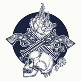 Skull, crossed guns, rose, tattoo art. Symbol of the wild west, robber, crime