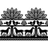 Seamless Polish folk art pattern Wycinanki Kurpiowskie - Kurpie Papercuts - 137782696