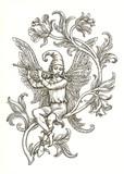 Крылатый эльф играющий на флейте. Рисунок тушью.