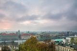Panorama of old Town architecture in Prague, Czech Republic.