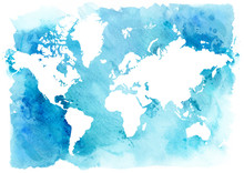 Vintage map of the world on a blue background. Watercolor illustration.