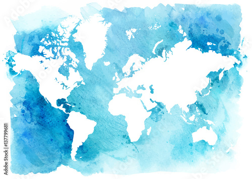 Juliste Vintage map of the world on a blue background
