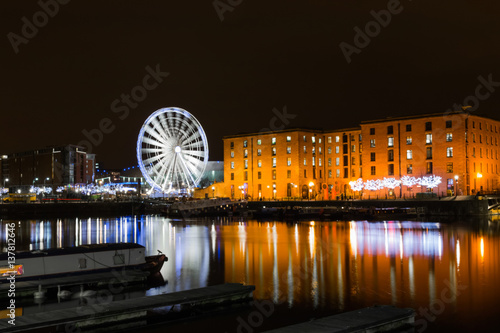 Liverpool Echo Arena and Ferris wheel At Albert Dock, Liverpool Poster