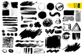 Fototapety Set of black paint, ink brush strokes, brushes, lines. Dirty artistic design elements. Vector illustration. Isolated on white background. Freehand drawing.