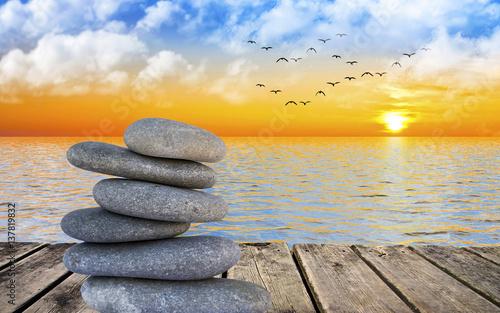 Aluminium Zen piedras frente al mar