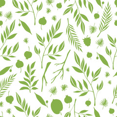 Hand drawn seamless pattern with branches and berries. Vector background. Design element for card, print, template, wallpaper.