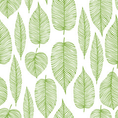 Seamless pattern with decorative leaves. Design for card, print, wallpaper.