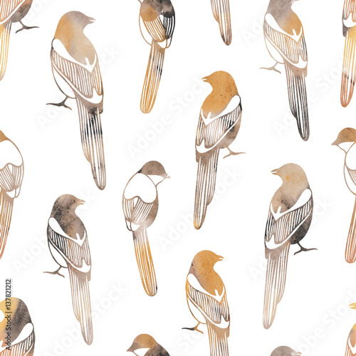 Vector seamless pattern with birds. Good for fashion fabric print, surface texture, pattern fills, web page background. - 137821212