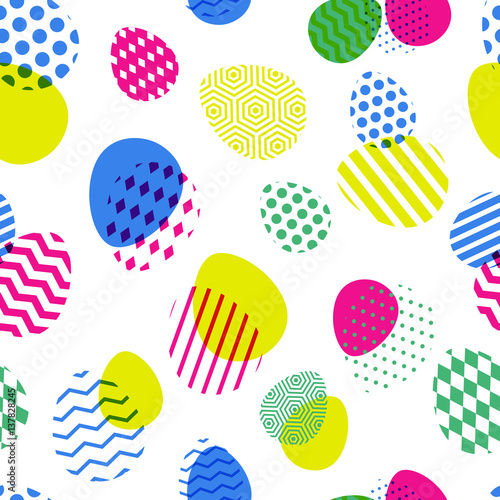 Materiał do szycia Vector seamless pattern with multicolor Easter eggs. Creative geometric background. Modern concept for holiday design.