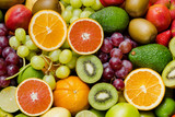 Arrangement ripe fruits and vegetables for eating healthy