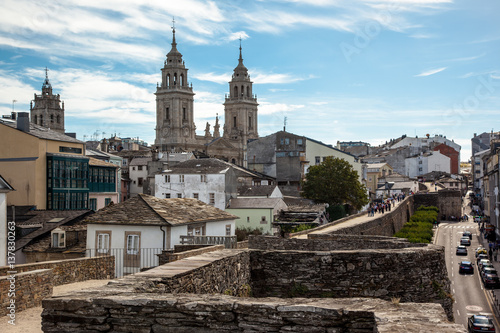 Cathedral and Roman wall of Lugo. Spain