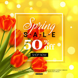 Spring sale banner design with tulips. Vector illustration.